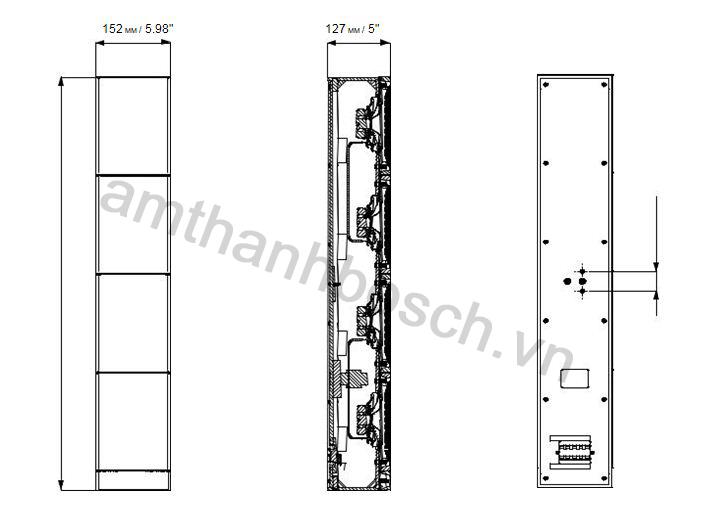 Kích thước lao cột LA1‑UW36‑x1