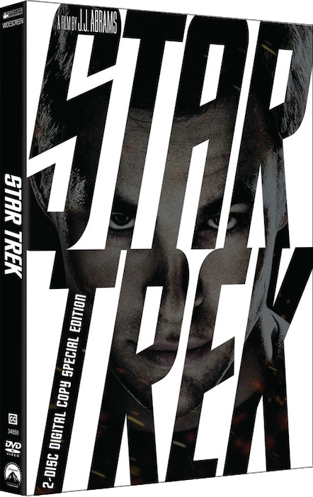 DVD box of 2009 'Star Trek' with the face of Chris Pine as Kirk seen through the letters of the title