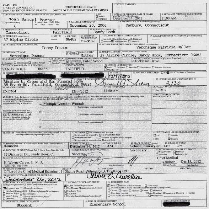 Sandy Hook- Facts & Research: Sandy Hook Noah Pozner Death ...