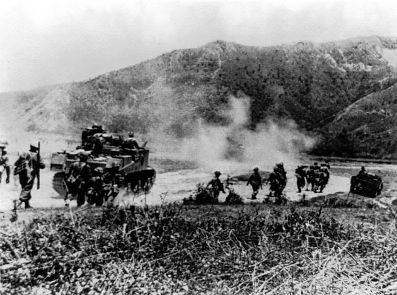 Gurkhas advancing with Lee tanks to clear the Japanese from Imphal-Kohima road between 8 March - 3 July 1944