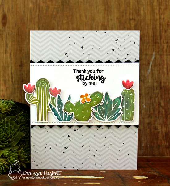 Cactus card by Larissa Heskett | Cultivated Cacti stamp sets and die set by Newton's Nook Designs #newotnsnook