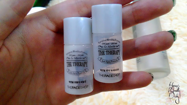 Monthly Project; The Face Shop The Therapy Essential Tonic Treatment +Essential Formula Emulsion sample