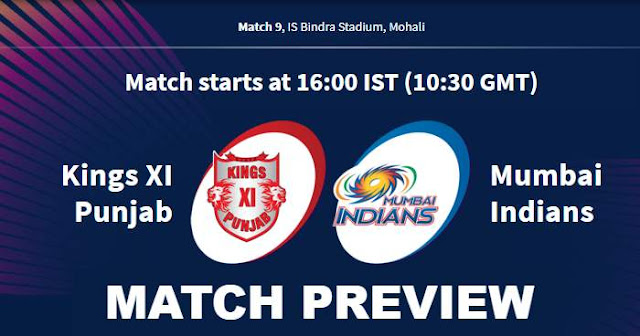 VIVO IPL 2019 Match 9 KXIP vs MI Match Preview, Head to Head and Trivia