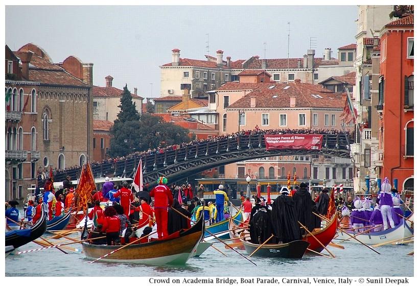 Crowded Academia bridge, Boat Parade, Carnival, Venice, Italy - © Sunil Deepak