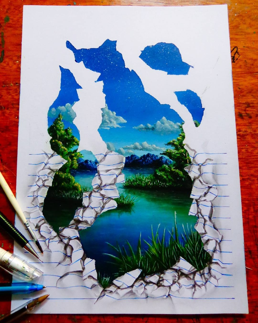 17-The-River-wip-João-A-Carvalho-Drawing-and-Painting-3D-Optical-Illusions-see-the-Video-www-designstack-co