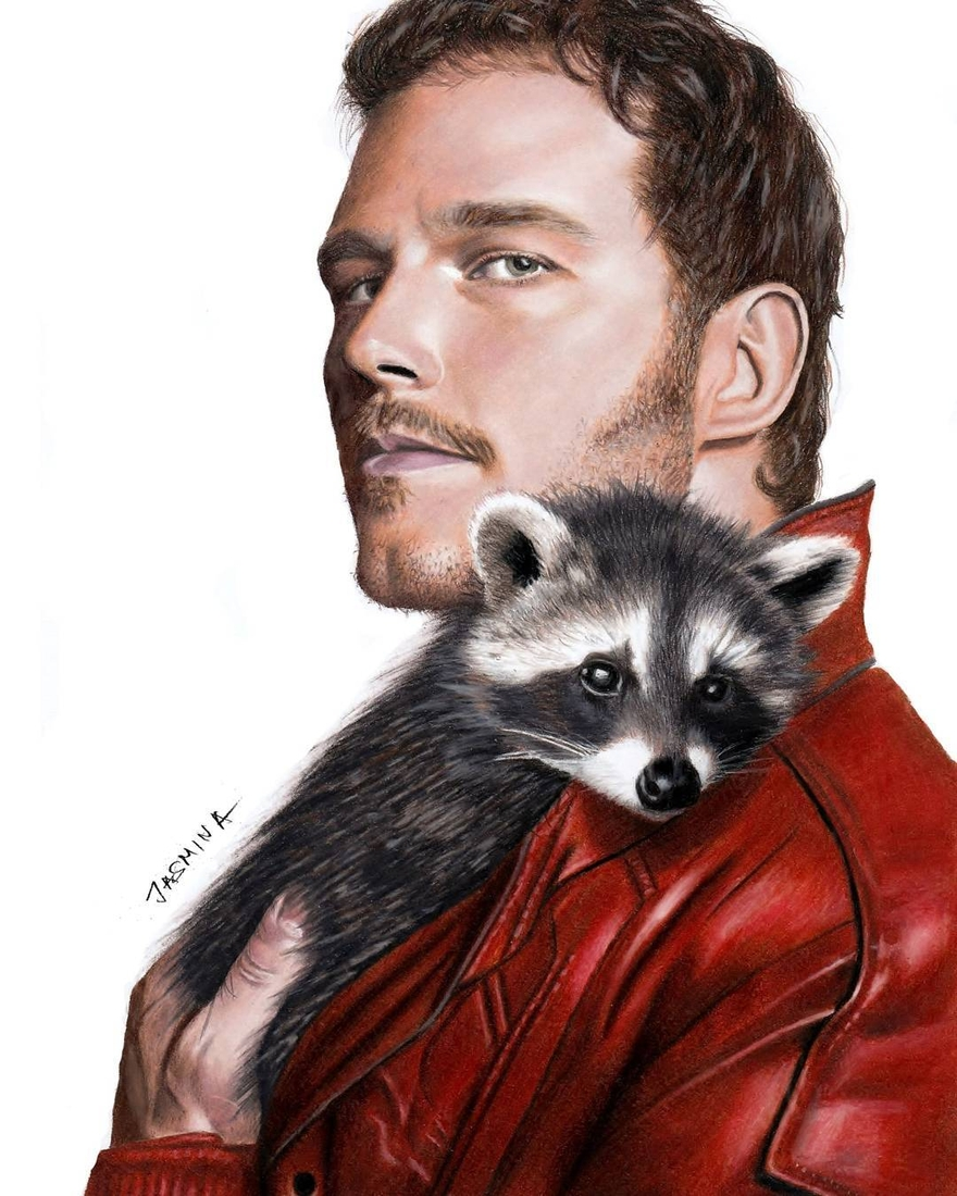 04-Chris-Pratt-And-Baby-Raccoon-Jasmina-Susak-Realistic-Animal-Drawings-with-Colored-Pencils-www-designstack-co