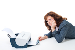 frustrated woman businesswoman printer