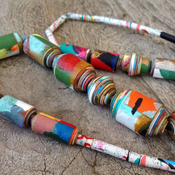 colorful, hand painted paper bead necklace