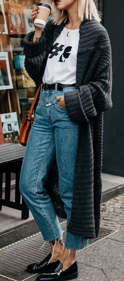 fashion trends | long knit cardi + printed top + jeans + loafers