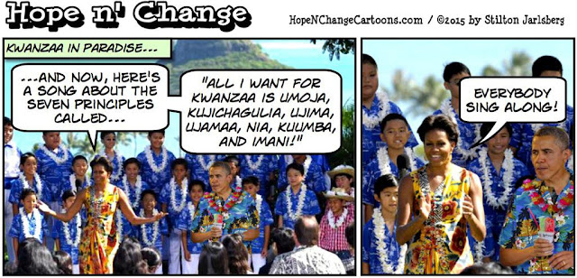 obama, obama jokes, political, humor, cartoon, conservative, hope n' change, hope and change, stilton jarlsberg, kwanzaa, holiday, vacation, hawaii