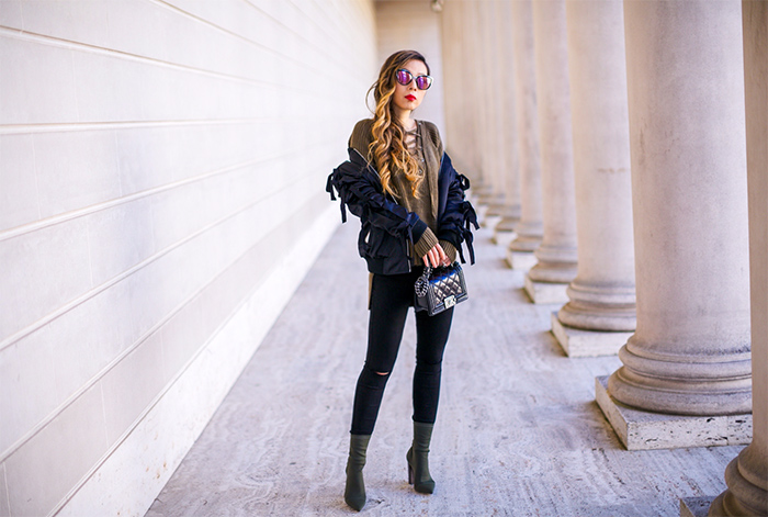 Endless rose Patch Bomber Jacket with Ribbon Sleeves, quay sunglasses, lace up sweater, 7fam jeans, tony bianco diddy stretchy ankle booties, ankle booties, khaki ankle booties, chanel boy bag, winter outfit ideas, san francisco fashion blog, san francisco street style