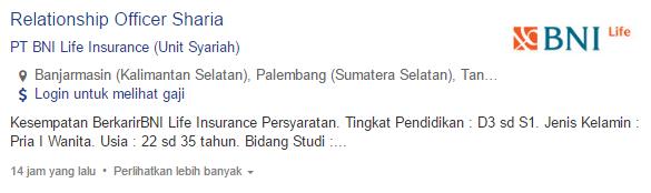Lowongan Kerja PT BNI Life Insurance (Unit Syariah) 2019