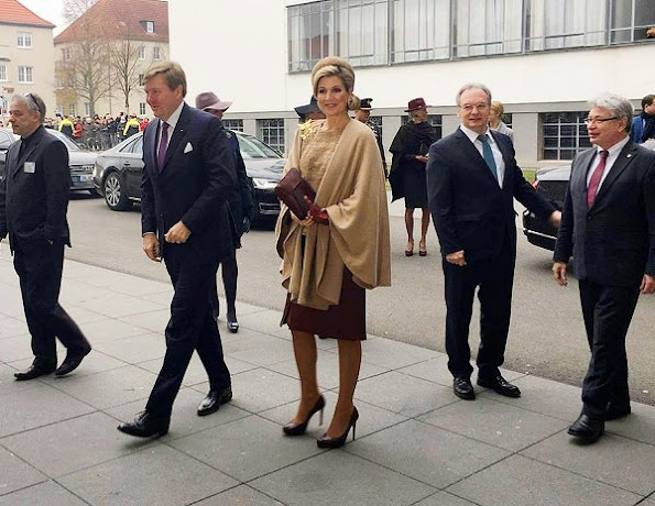 Queen Maxima wore Natan Dress coat, LK Bennett Shoes. Queen Maxima visit Germany