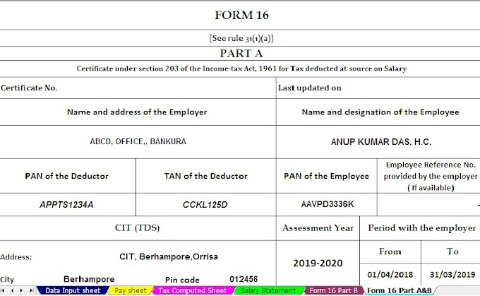 Free Download Automated Income Tax Form 16 Part A&B for 100 Employees for F.Y. 2018-19