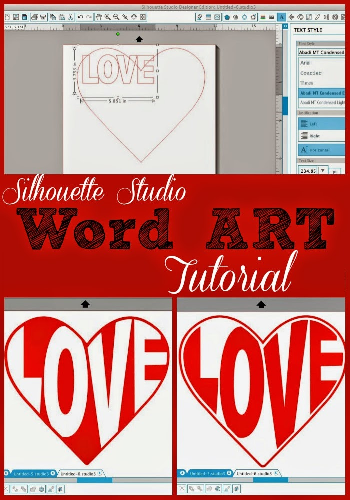 Silhouette Studio, word art, heart