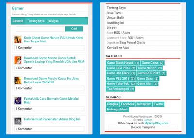 CSS Mobile Mywapblog - X-Code Tampilan Simple Warna Flat