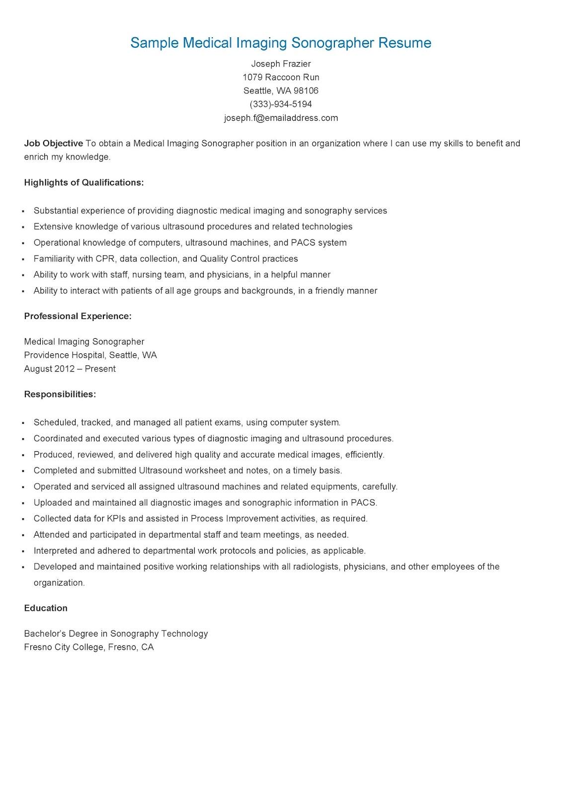 resume samples  sample medical imaging sonographer resume