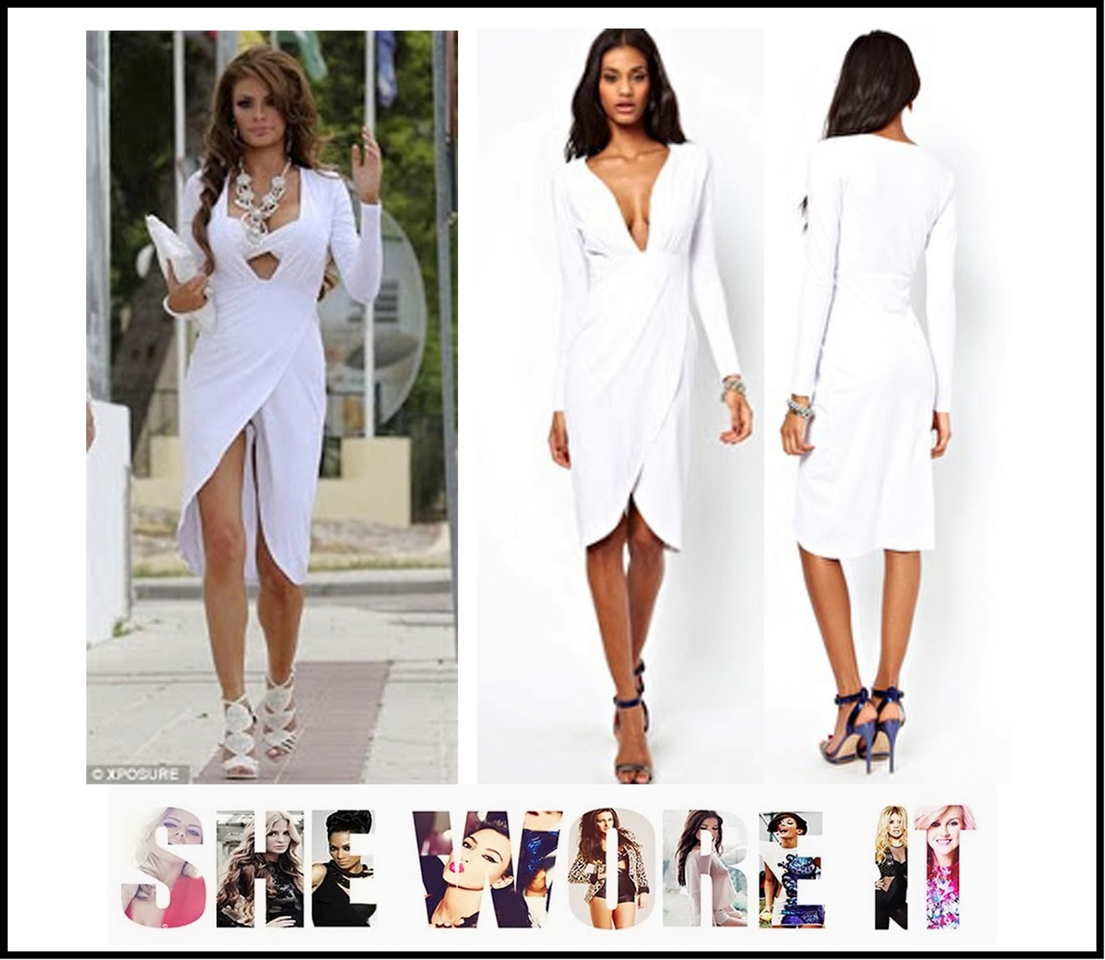 Chloe Sims s ASOS Long Sleeve White Deep Plunging Neckline Dress ... 28293db42