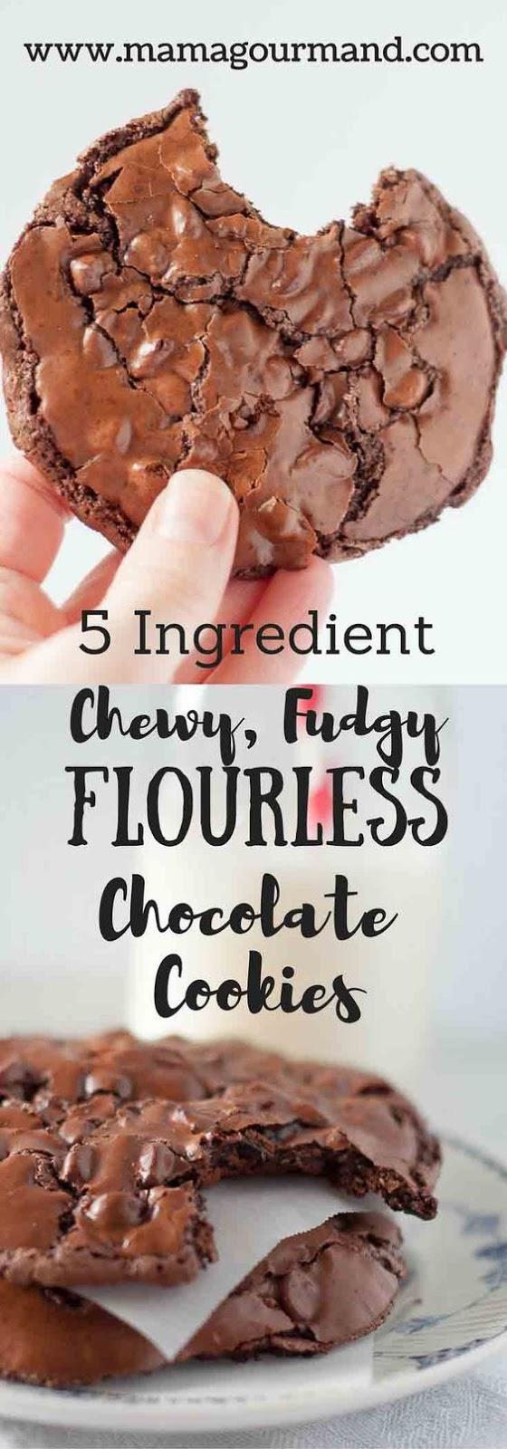 Chewy, Fudgy Flourless Chocolate Cookies