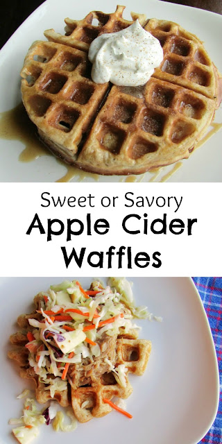 Apple cider waffles can be made sweet or savory. We have enjoyed them piled with apple cider pulled pork and slaw for dinner. For a treat, try them drizzled with cider caramel and topped with a dollop of whipped cream. They are hard to beat!
