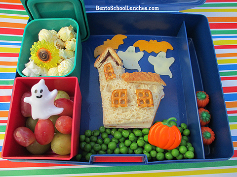 Halloween Haunted House, Bats and Ghost bento