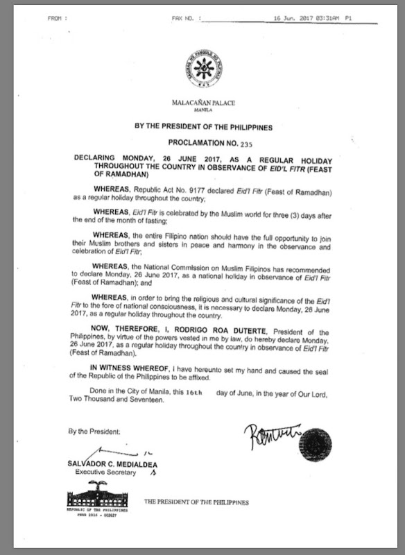 June 26 2017 is a holiday in the Philippines