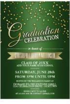 Green/Gold Confetti Graduation Party Invitations