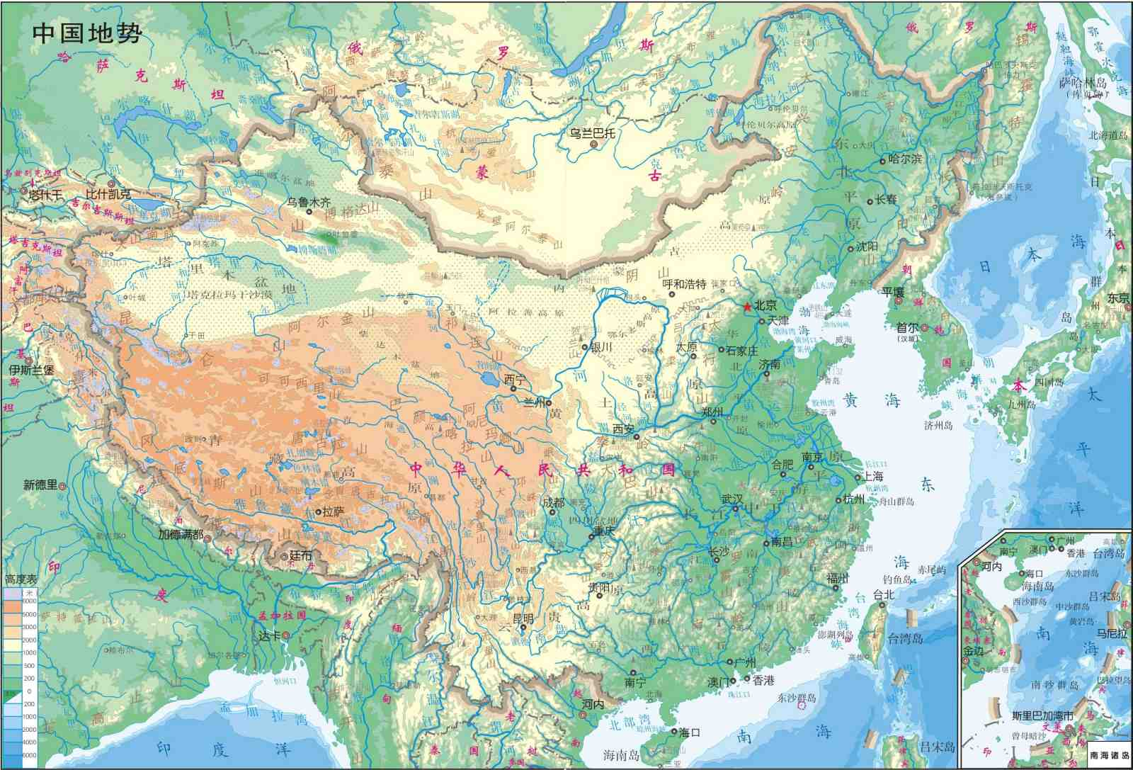 Online Maps China Physical Map