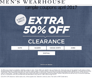free Men's Wearhouse coupons april 2017