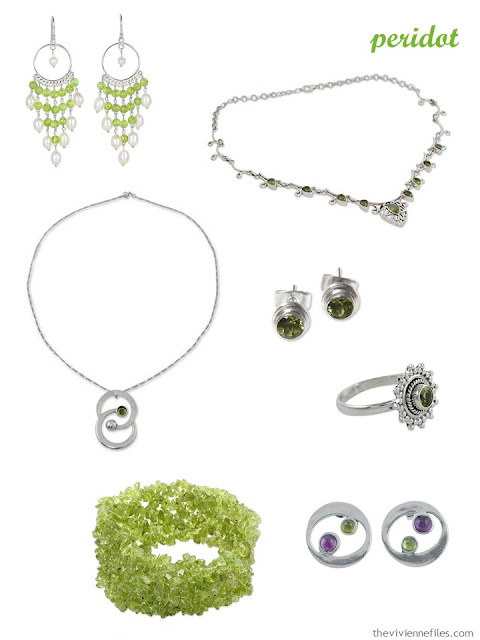 a family of seven pieces of peridot jewelry