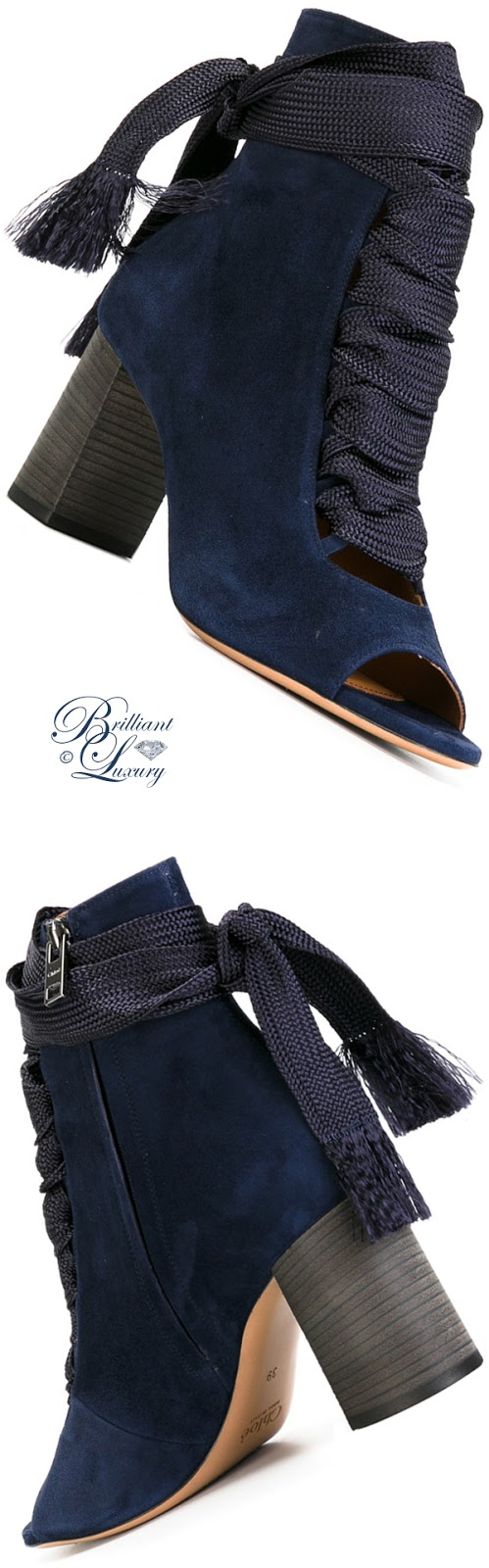 Brilliant Luxury ♦ Chloé Harper Velours Booties #blue