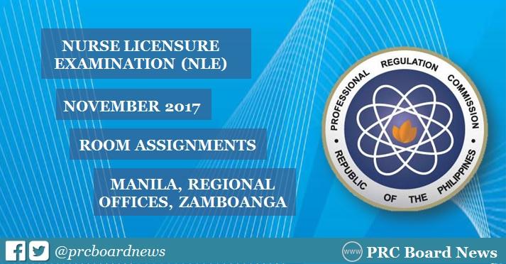 NLE Room Assignment November 2017 Nursing Board Exam