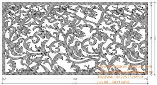 desain panel GRC krawangan motif sulur daun