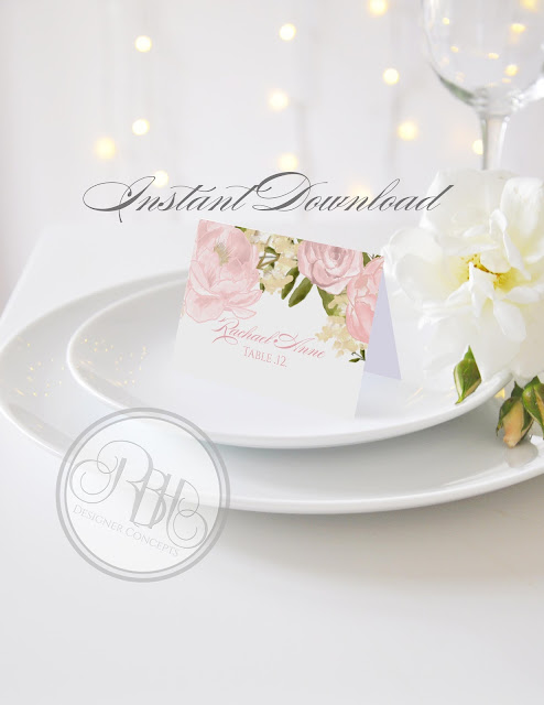 Dusty Pink Peonies, Roses, Place Cards, Place Names, template