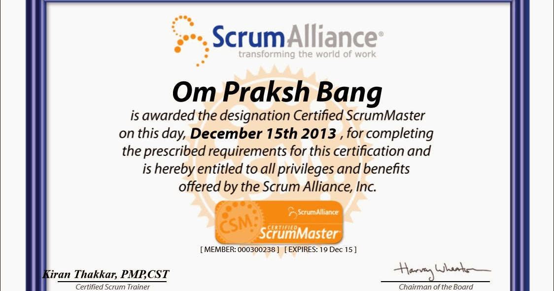 Certified Scrum Master (CSM) | Being Agile