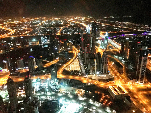 Night view of Dubai as seen from Burj Khalifa