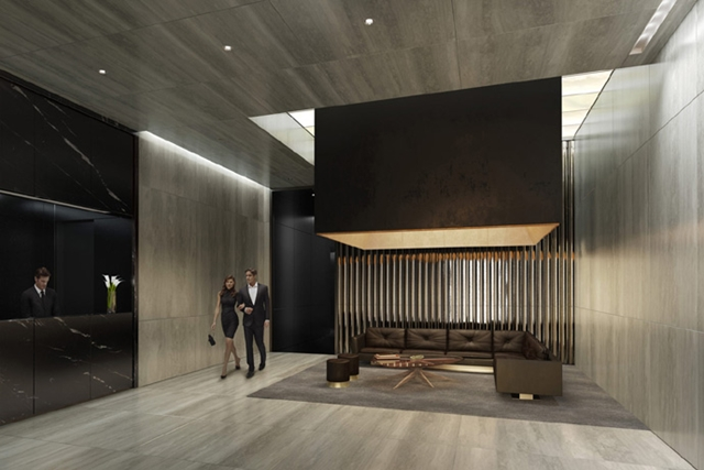 Rendering of a lobby interior at One 57 by Christian de Portzamparc with single couch