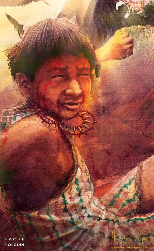 Ilustración y diseño de portada del libro Moxa, el hijo del sol por Hache Holguín
