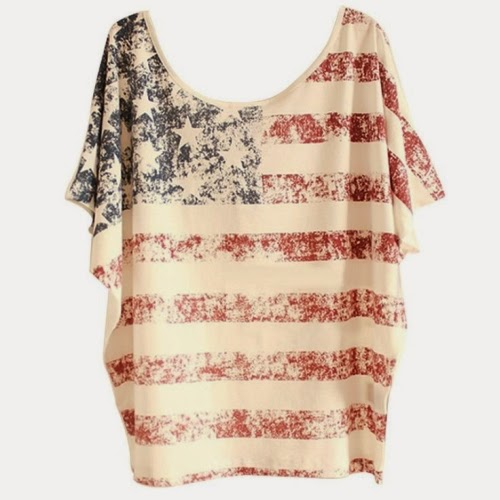 usa american flag t-shirt women