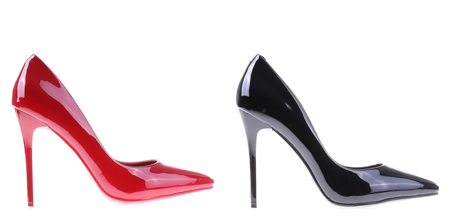 Pantofi eleganti rosii, negri lacuiti de ocazii ieftini