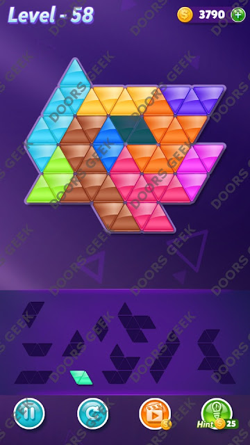 Block! Triangle Puzzle 10 Mania Level 58 Solution, Cheats, Walkthrough for Android, iPhone, iPad and iPod