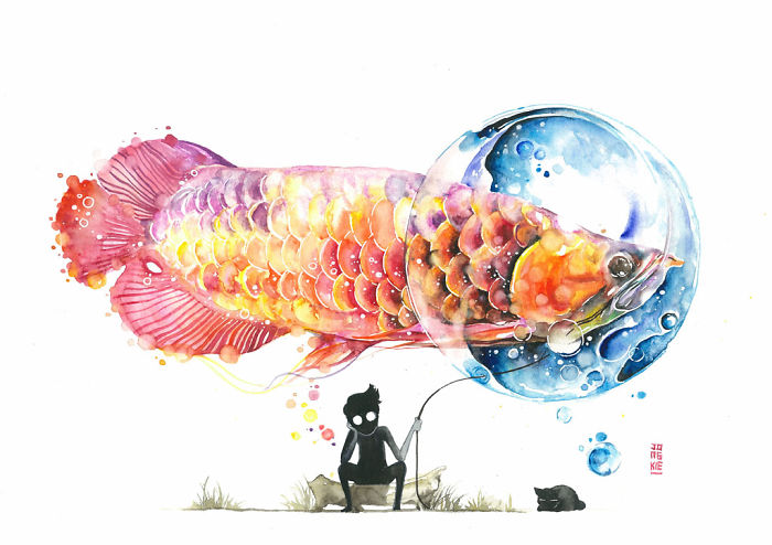 08-Big-Surprise-Luqman Reza jongkie-Painting-Fantasy-worlds-with-Flowing-Watercolor-Animals-www-designstack-co