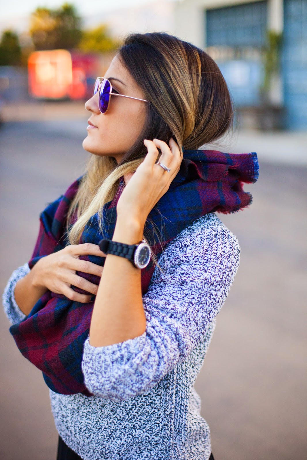 plaid scarf and knit sweater