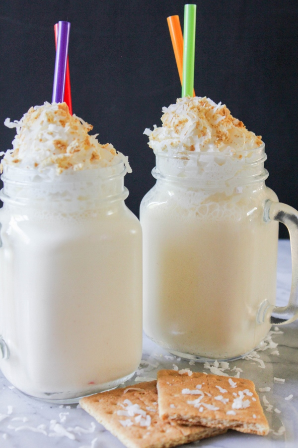 These decadent and delicious Coconut Cream Pie Milkshakes are simple to make and are the perfect treat on a hot summer day!