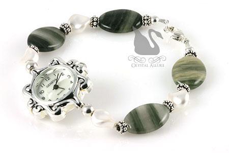 Moss Agate Pearl Elegance Beaded Watch (W09)