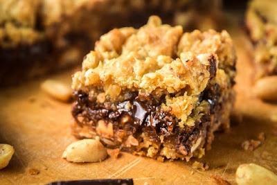 Peanut Butter Caramel Crunchy Oat Bars - Food Photo Shoot