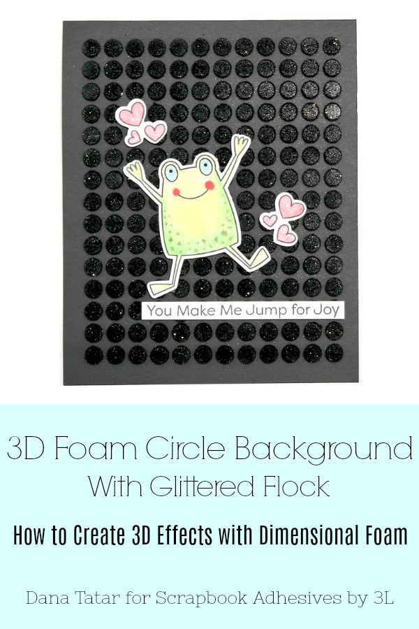 Jump for Joy Toad Card with Black 3D Foam Circle Background by Dana Tatar