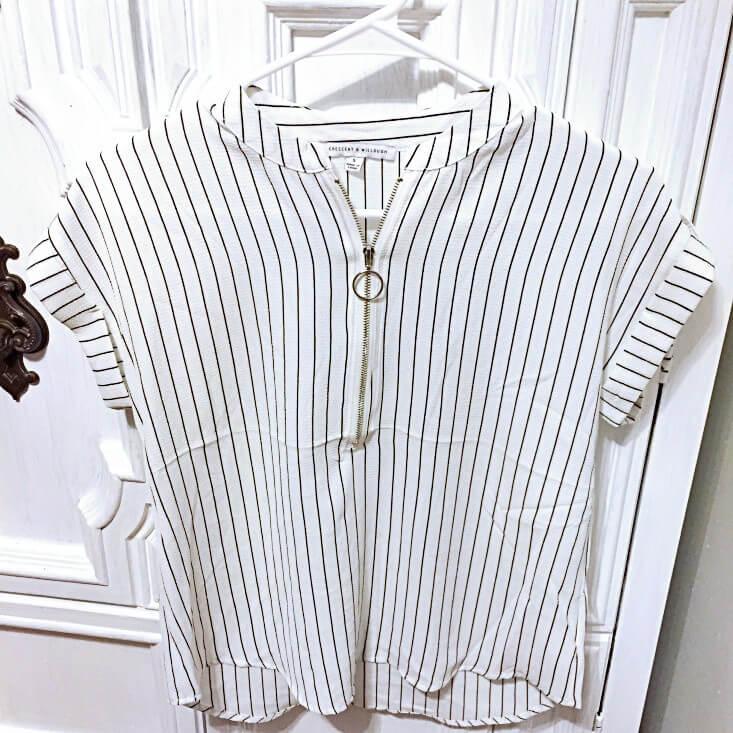 Crescent & Willough black and white striped blouse