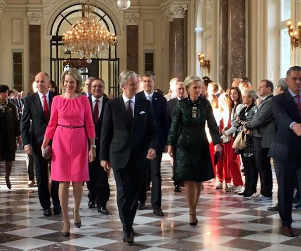 Queen Mathilde wore Natan Dress, gold diamond earrings, DVF clutch bag, Natan Pumps, Bottega Veneta clutch