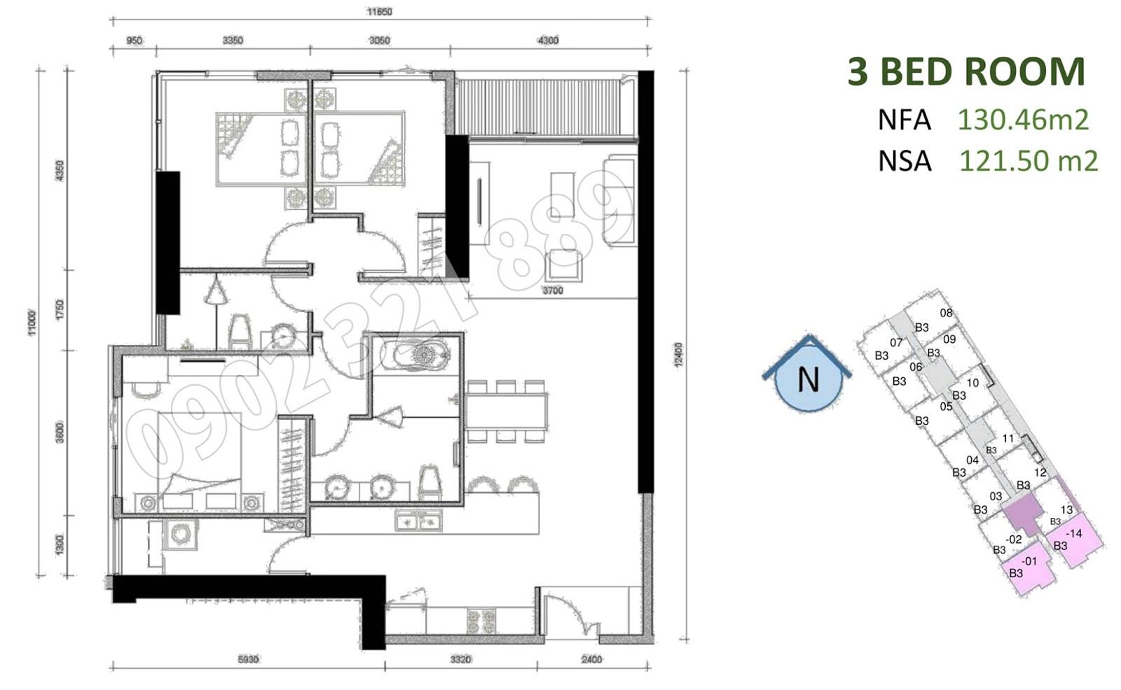mặt bằng căn hộ sunwah pearl 3 phòng ngủ B3-01 và B3-14